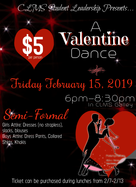 Valentine's Day Dance on Friday, February 15th