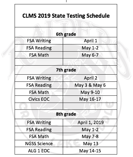 State Testing Schedule