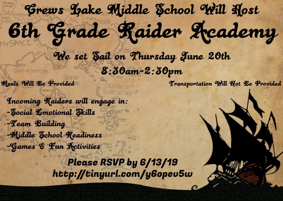 Incoming 6th Grade Raider Academy